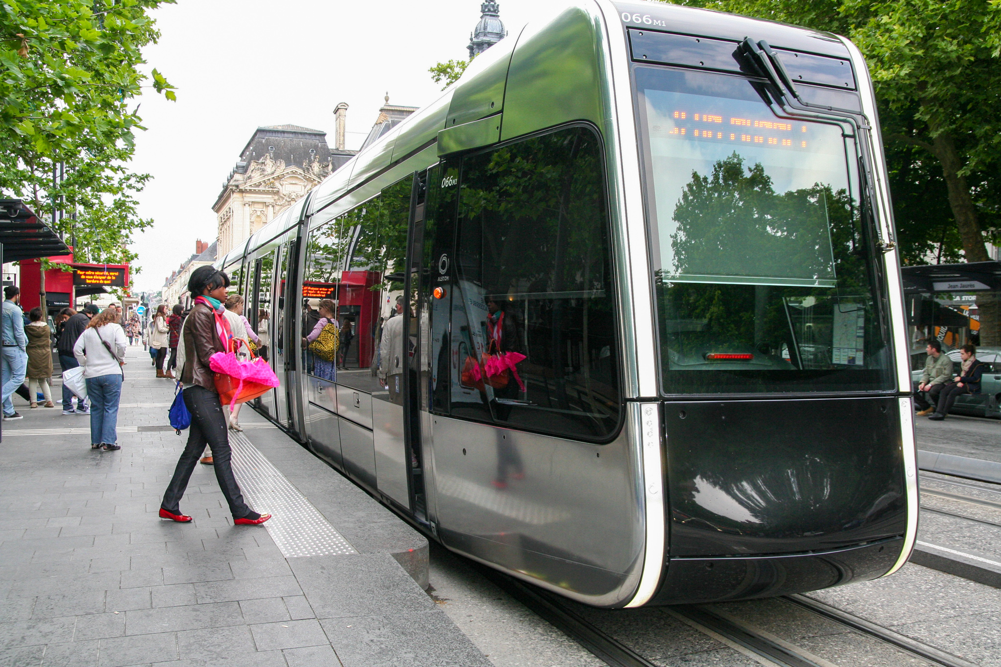 Tram at stop in Tours.